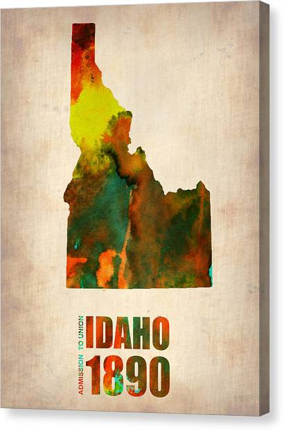Idaho Canvas Print - Idaho Watercolor Map by Naxart Studio