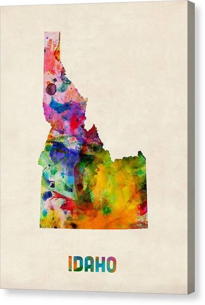 Idaho Canvas Print - Idaho Watercolor Map by Michael Tompsett