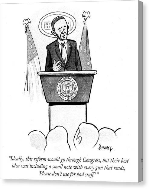Gun Control Canvas Print - Ideally This Reform Would Go Through Congress by Benjamin Schwartz