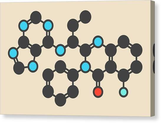 Chronic Canvas Print - Idelalisib Leukaemia Drug Molecule by Molekuul