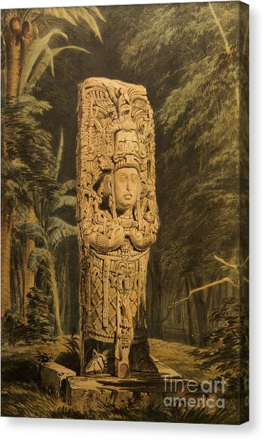 Idol At Copan By Frederick Catherwood Canvas Print