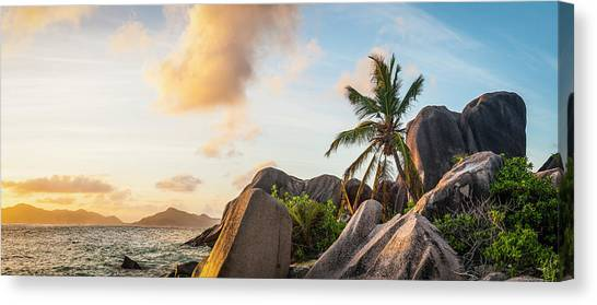 Idyllic Tropical Island Sunset Over Canvas Print by Fotovoyager