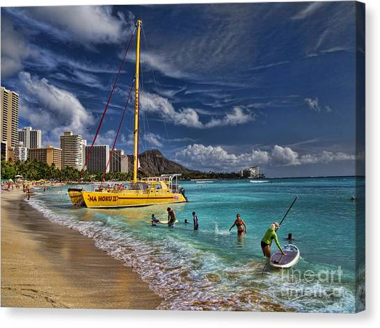 Catamarans Canvas Print - Idyllic Waikiki Beach by David Smith