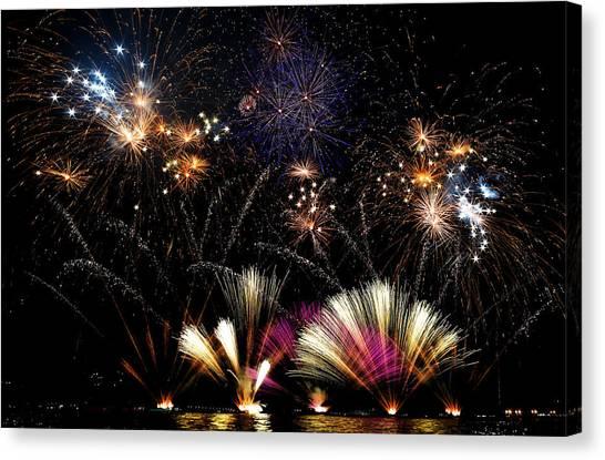 Fireworks Canvas Print - Ieri A Lecco C'erano I Fuochi... by Francesco Calvetti