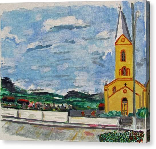 Igreja Do Cerro Branco Canvas Print by Greg Mason Burns