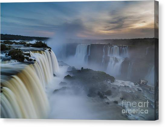 Iguazu Falls Canvas Print - Iguacu Falls Sunset Majesty by Mike Reid