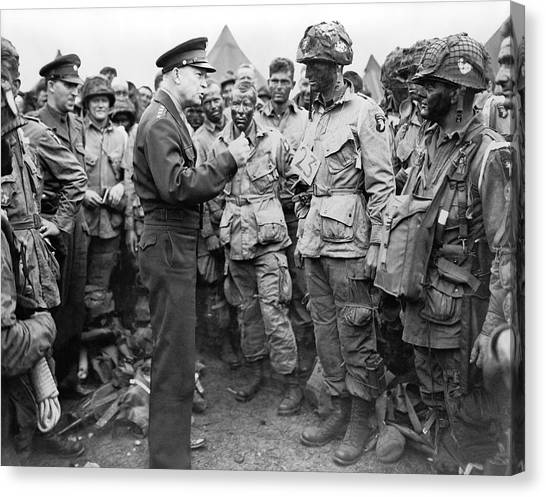 Ike With D-day Paratroopers Canvas Print