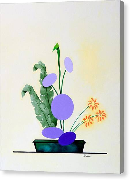 Ikebana #2 Green Pot Canvas Print