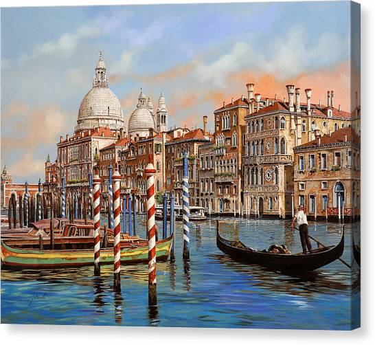 Night Canvas Print - Il Canal Grande by Guido Borelli