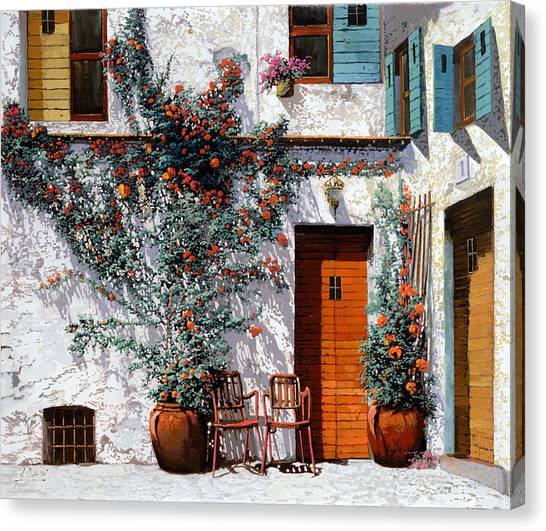 Chairs Canvas Print - Il Cortile Bianco by Guido Borelli