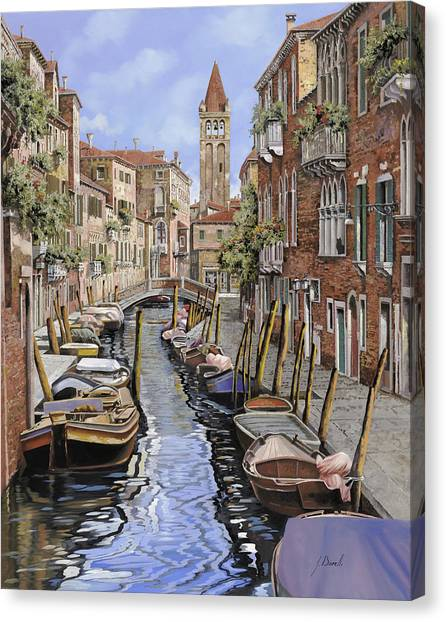 Dock Canvas Print - il gatto nero a Venezia by Guido Borelli