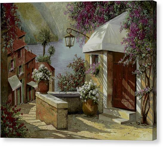 Street Lamp Canvas Print - Il Lampione Oltre La Tenda by Guido Borelli