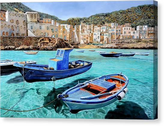Vacations Canvas Print - Il Mare Smeraldo by Guido Borelli