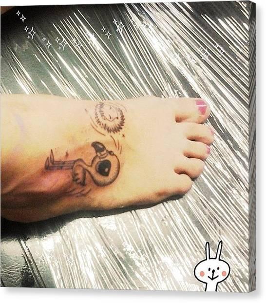 Flamingos Canvas Print - Il Mio Nuovo #tatuaggio Prima Del by Valentina Di Martino