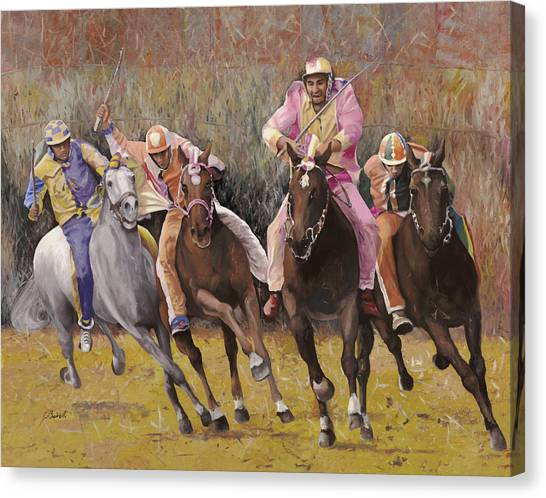Equestrian Canvas Print - il palio dell'Assunta by Guido Borelli