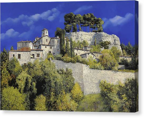 Pine Trees Canvas Print - Il Villaggio In Blu by Guido Borelli