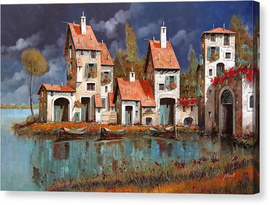 Villages Canvas Print - Il Villaggio Sul Lago by Guido Borelli