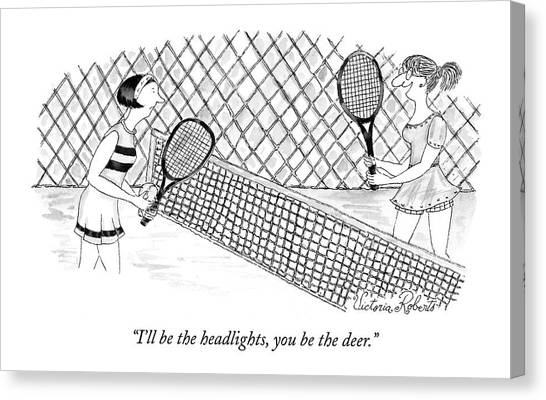 Tennis Players Canvas Print - I'll Be The Headlights by Victoria Roberts
