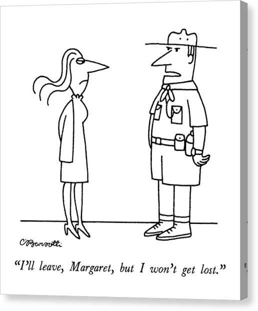 Boy Scouts Canvas Print - I'll Leave, Margaret, But I Won't Get Lost by Charles Barsotti