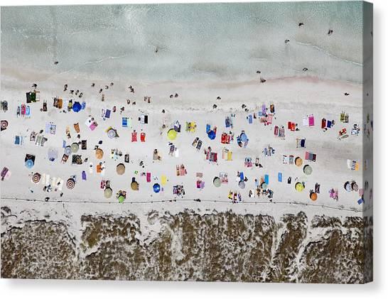 Beach Umbrellas Canvas Print - Illetes Beach, Formentera by Xavier Durán