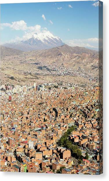 Bolivian Canvas Print - Illimani And La Paz by Ashley Cooper/science Photo Library