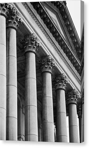 Capitol Building Canvas Print - Illinois Capitol Columns B W by Steve Gadomski