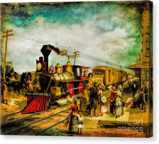 Train Conductor Canvas Print - Illinois Central Railroad 1882 by Lianne Schneider