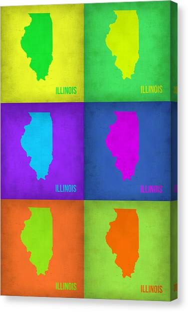 University Of Illinois Canvas Print - Illinois Pop Art Map 1 by Naxart Studio