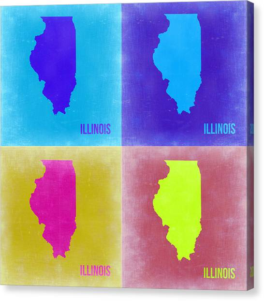 University Of Illinois Canvas Print - Illinois Pop Art Map 2 by Naxart Studio