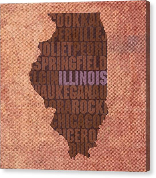 Illinois Map Canvas Print - Illinois State Word Art On Canvas by Design Turnpike