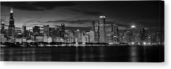Chicago Skyline Art Canvas Print - Illuminated Chicago Skyline by Andrew Soundarajan