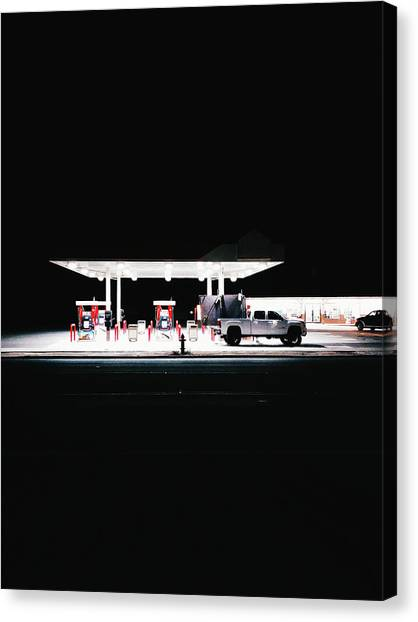 Illuminated Gas Station With Car At Canvas Print by Constantin Renner / Eyeem
