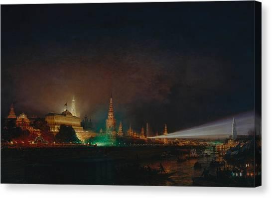 Moscow Canvas Print - Illumination Of The Kremlin by Aleksei Petrovich Bogolyubov