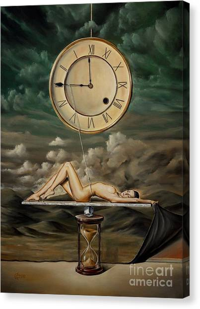 Erotic Framed Canvas Print - Illusion Of Time by Svetoslav Stoyanov