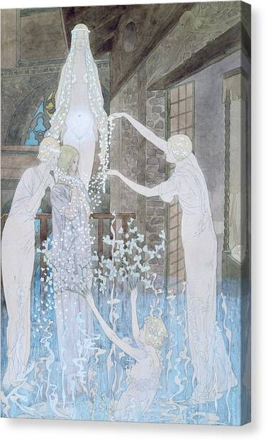 Apparition Canvas Print - Illustation From Le Reve by Carlos Schwabe