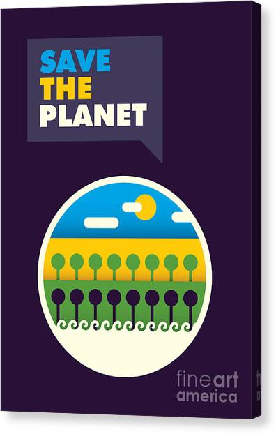 Planet Canvas Print - Illustrated Ecology Poster In Color by Radoman Durkovic