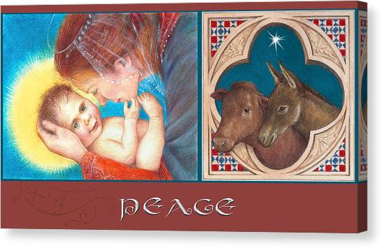 Illustrated Madonna And Child  Canvas Print