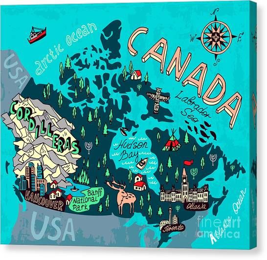 Vancouver Canvas Print - Illustrated Map Of Canada. Travel by Daria i
