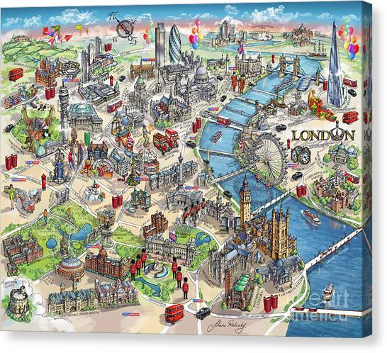 The British Museum Canvas Print - Illustrated Map Of London by Maria Rabinky
