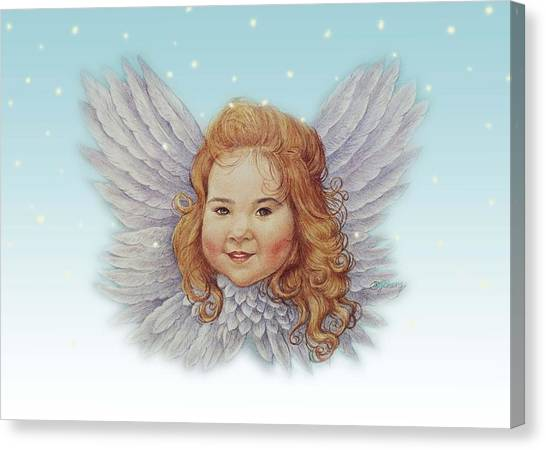 Illustrated Twinkling Angel Canvas Print