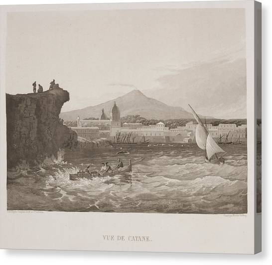 Mount Etna Canvas Print - Illustrated View Of Sicilian Harbour by British Library