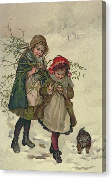 Mistletoe Canvas Print - Illustration From Christmas Tree Fairy, Pub. 1886 by Lizzie Mack