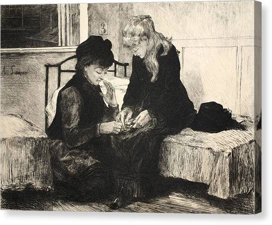Pen And Ink Drawing Canvas Print - Illustration From La Rue A Londres by Auguste Andre Lancon
