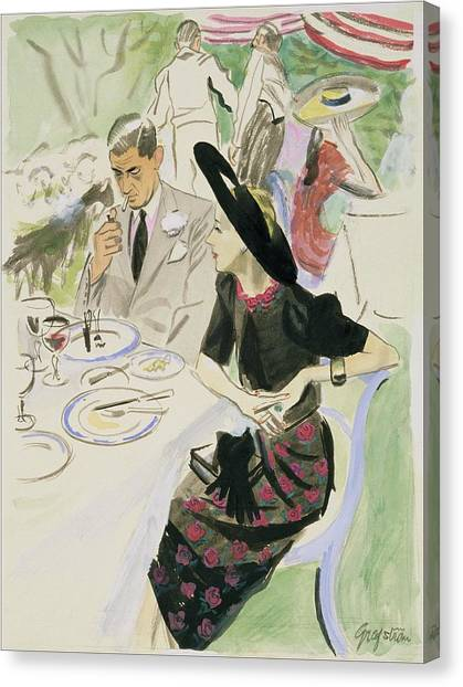 Illustration Of A Couple Dining Outdoors Canvas Print by R.S. Grafstrom