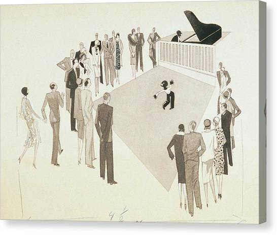 Tap Dance Canvas Print - Illustration Of A Crowd Gathering To Watch Tap by William Bolin