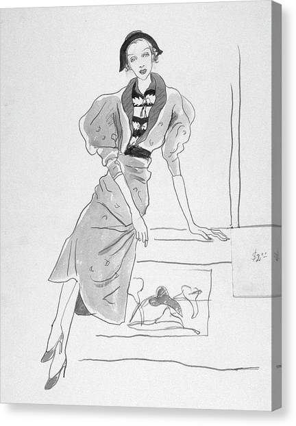 Illustration Of A Fashionable Woman Canvas Print by Cecil Beaton