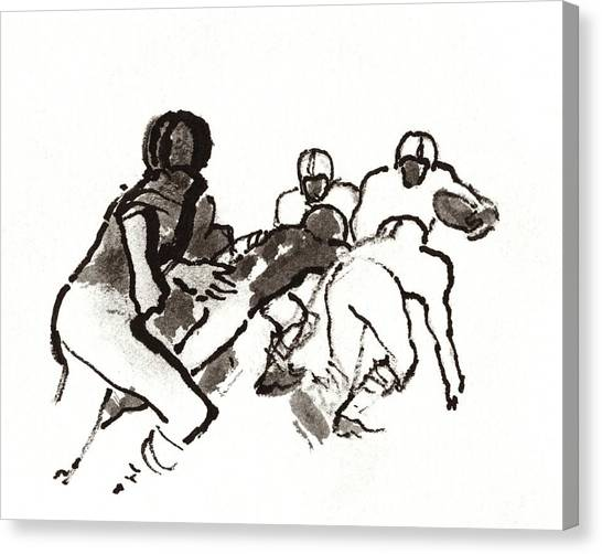 Illustration Of A Group Of Football Players Canvas Print by Carl Oscar August Erickson