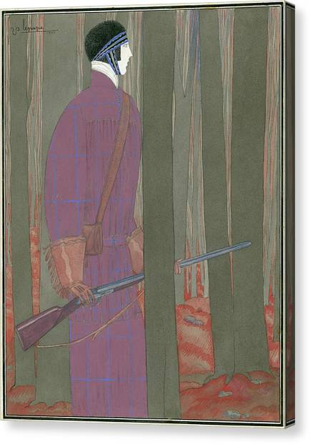 Illustration Of A Hunter In A Forest Canvas Print by Georges Lepape
