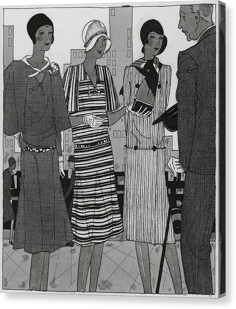 Illustration Of A Man And Three Fashionable Women Canvas Print by Jean Pages