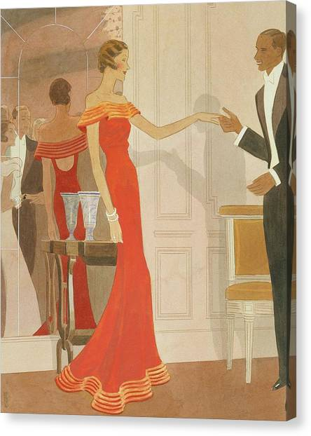 Illustration Of A Woman At A Debutante Ball Canvas Print by Eduardo Garcia Benito